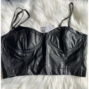 Forever 21 Black Faux Leather Cami Bralette Top